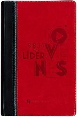 Biblia NVI Lideres de Jovenes Piel Negro/Rojo (Tapa Suave) [Biblia]
