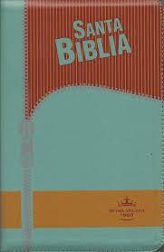 Biblia Letra Grande con Cierre Verde/Naranja