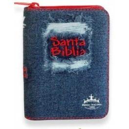 Biblia Jean Azul con Cierre Rojo (Tapa Suave) [Biblia]