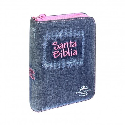 Biblia Jean Azul con Cierre Fucsia (Tapa Suave) [Biblia]