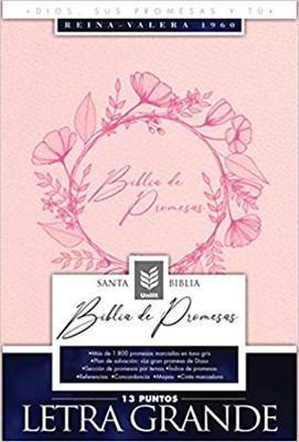 Biblia de Promesas Letra Grande Piel Especial Rosado Moderno (Tapa Sueva)