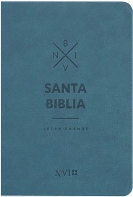 Biblia NVI Letra Grande Cuero Italiano Azul (Tapa Suave)