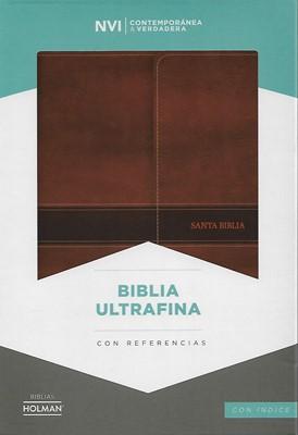 Biblia NVI Ultrafina con Solapa Símil Piel Marrón