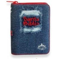 Biblia Jean Azul con Cierre Rojo