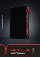 Biblia NTV Compacta con Cierre Negro Carmesí