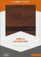 Biblia Ultrafina con Solapa Símil Piel con Índice Marrón