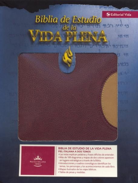 Biblia Estudio Vida Plena Piel Rojo/Beige